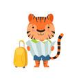 cheerful tourist tiger cute animal cartoon vector image vector image