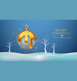 christmas new year 3d low poly gold melt ornament vector image vector image