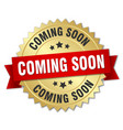 coming soon 3d gold badge with red ribbon vector image vector image