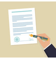 contract sign hand vector image