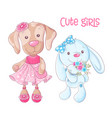 cute cartoon animals doggy and rabbit hand drawing vector image