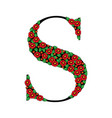 daisy red floral letter s vector image vector image