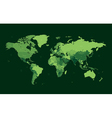 Dark green detailed World map vector image vector image