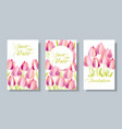 decorative textured tulip flowers card set vector image vector image