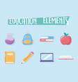 education elements apple bag book test tube school vector image vector image