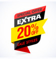 extra sale banner special offer take an extra 20 vector image vector image