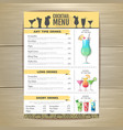 flat cocktail menu design document template vector image vector image
