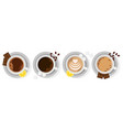 four types of coffee in cups with slices of lemon vector image
