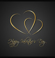 gold black simple happy valentines day card vector image