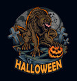 halloween werewolf on night holding vector image vector image