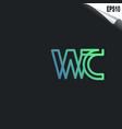 initial wc logo monogram design template simple vector image vector image