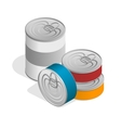 Isometric closed food tin cans with blank label vector image