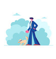 man walking with dog outdoors on summertime vector image vector image