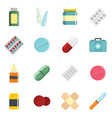 medicine cartoon pill drugs and antibiotics icons vector image vector image