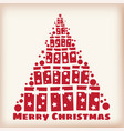 merry christmas spruce stylized from gifts vector image vector image