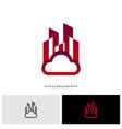 modern building cloud logo design concept cloud vector image