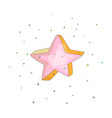 pink cartoon funny star icon cartoon icon vector image vector image