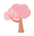 pink tree plant nature cartoon isolated white vector image