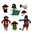 pirate set characters web pirate octopus vector image vector image