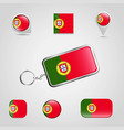 portugal country flag on keychain and map pin vector image vector image