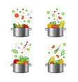 realistic detailed 3d food ingredients fly pot set vector image vector image