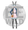 retro hipster fashion animal rabbit woman model vector image vector image