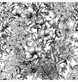 Retro Summer Seamless Monochrome Floral Pattern vector image vector image