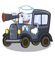 sailor with binocular old cartoon car in side vector image vector image