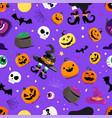 set halloween elements seamless pattern vector image