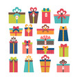 set of different gift boxes flat design colorful vector image vector image
