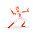 smiling baseball player in a red uniform pitching vector image vector image