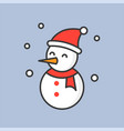 snowman and snow fall filled outline icon for vector image vector image