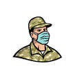 soldier wearing mask mascot vector image vector image