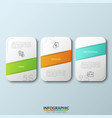 three separate white rounded rectangles vector image vector image