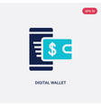 two color digital wallet icon from cryptocurrency vector image