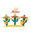 viva mexico banner three funny cacti in sombrero vector image vector image