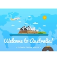 Welcome to Australia poster with famous attraction vector image vector image