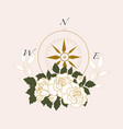 withcompass and white elegant roses vector image vector image