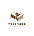 wood logo with letter d shape vector image vector image