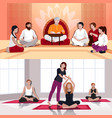 yoga and spiritual lesson flat compositions vector image vector image
