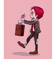 Zombie with briefcase walking vector image