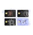 set concept of a bank card bitcoin vector image