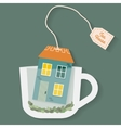 House in cup of tea vector image