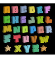 3D graffiti blocky color fonts alphabet over black vector image vector image