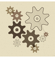 Abstract Cogs - Gears on Recycled Paper Back vector image vector image