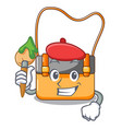 artist messenger bag on a isolated mascot vector image
