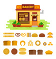 bakery shop on the street with bread icon set vector image