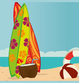 beach landscape with surf boards scene vector image vector image