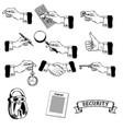 big set icons mens hands making vector image