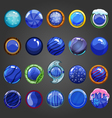 Big set of round blue button vector image